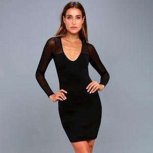 Lulu's Parisian nights black mesh sleeve bodycon S